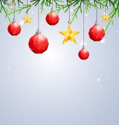 Polygonal red Christmas ball and star hanging vector image