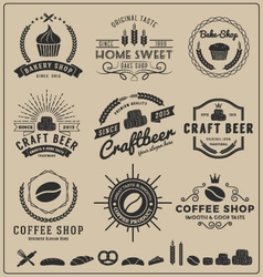 Sets of bake shop craft beer coffee shop logo vector