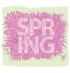 spring background with hand drawn leave vector image