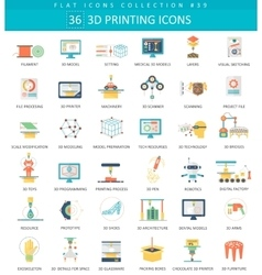 3D printing flat icon set Elegant style vector image