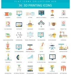 3D printing flat icon set Elegant style vector