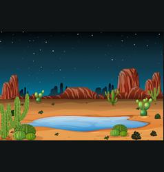 A desert scene at night vector