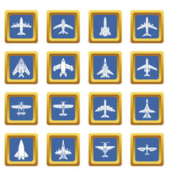 Airplane top view icons set blue square vector