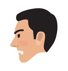 angry man avatar user pic side head view vector image