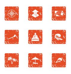 Asian coast icons set grunge style vector