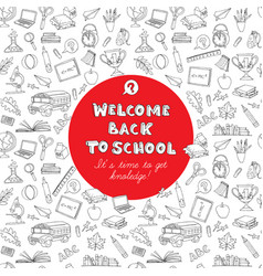 back to school greeting card kids doodles vector image
