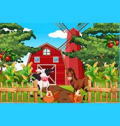 beautiful nature farm landscape vector image