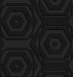 Black textured plastic striped hexagons vector