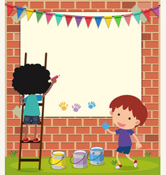 Border template with boys drawing on wall vector