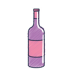 Bottle of wine tasty beverage icon vector