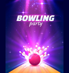 bowling club poster with bright background vector image