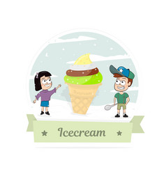 boy and girl with a big ice cream vector image