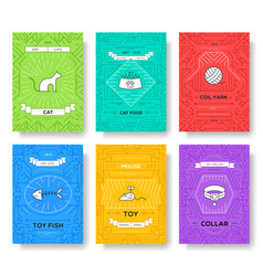 Breed cats thin line brochure cards set animal vector