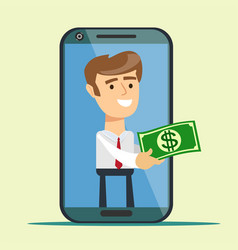 business concept cartoon smartphone giving money vector image