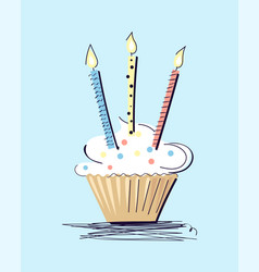 cake with illuminating candles vector image