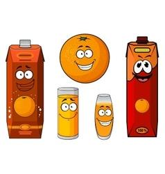 Cartoon fresh orange juice and fruit vector image