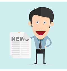 cartoon with newspaper in flat design vector image