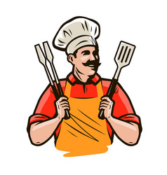 Chef or happy cook holding a grill tools tongs and vector