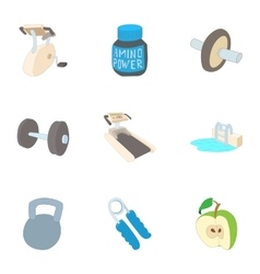 Classes in gym icons set cartoon style vector image