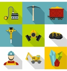 Coal mining icons set flat style vector