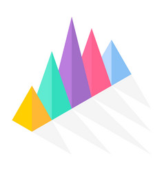 Colorful triangle pyramid charts for documents vector