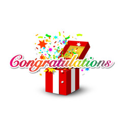congratulations banner with colorful confetti and vector image