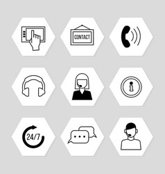 Contact centre or online support icons set vector