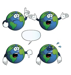 Crying earth globe set vector