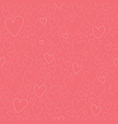 Dark pink oulined hearts seamless pattern vector