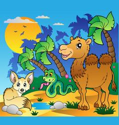 desert scene with various animals 1 vector image