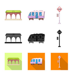 design of train and station icon vector image