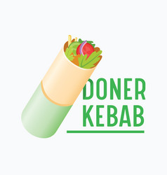 Doner kebab banner creative badge with vegetables vector