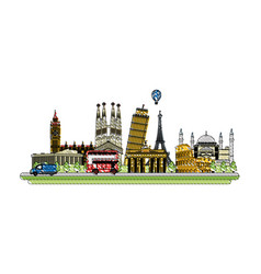 doodle countries structures design and nice vector image