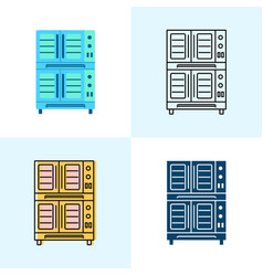 Double deck con oven icon set in flat vector