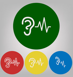 Ear hearing sound sign 4 white styles of vector
