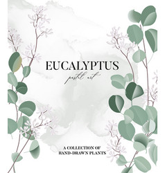 Eucalyptus floral watercolor art wedding card vector
