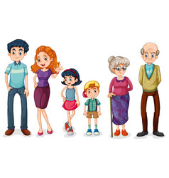 Family members with parents and kids on white vector