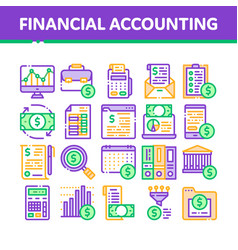 financial accounting collection icons set vector image