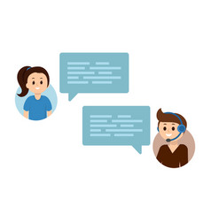 Flat people chating online support service vector
