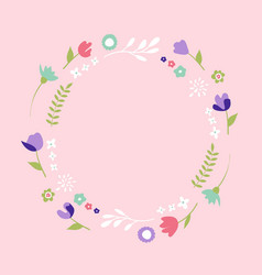 floral banner on the pink background vector image