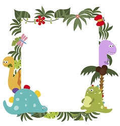 Frame with cartoon dinosaurs vector