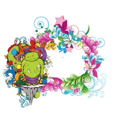 funny monsters on a floral frame vector image