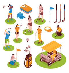 Golf isometric icons set vector