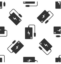 grey power bank with different charge cable icon vector image
