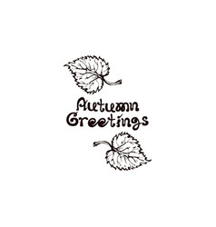 Hand drawn aspen leaves with handwritten text vector
