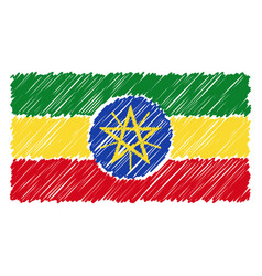 hand drawn national flag of ethiopia isolated on a vector image