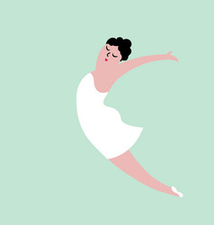 happy plus size dancing girl body positive vector image