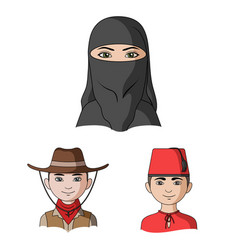 Human race cartoon icons in set collection vector