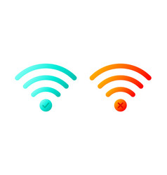 icon set wireless wifi symbols with check mark vector image