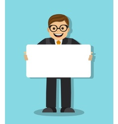 Joyful businessman with a poster vector